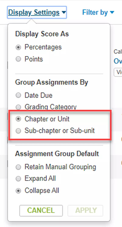 MindTap organize gradebook