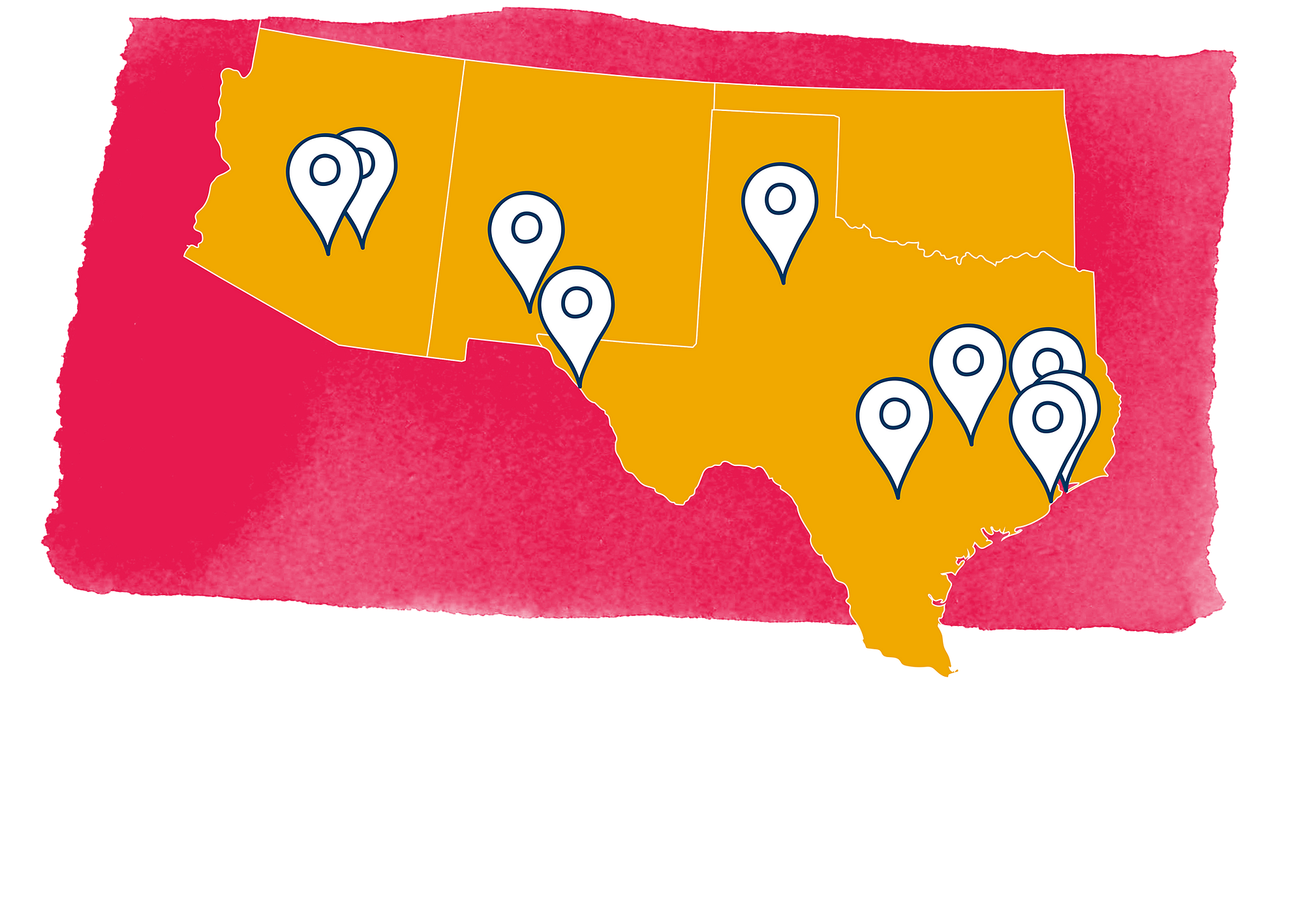 US southwest region map with pins
