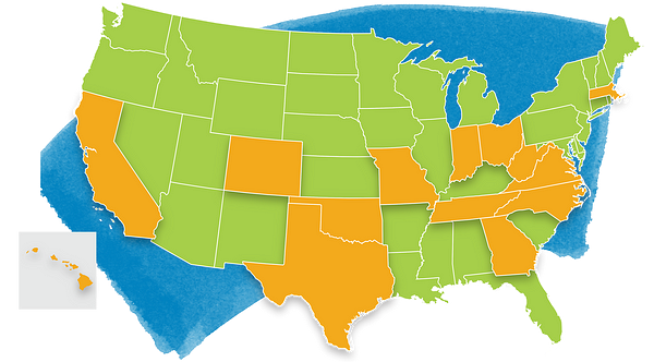 US map showing states impacted by redesign
