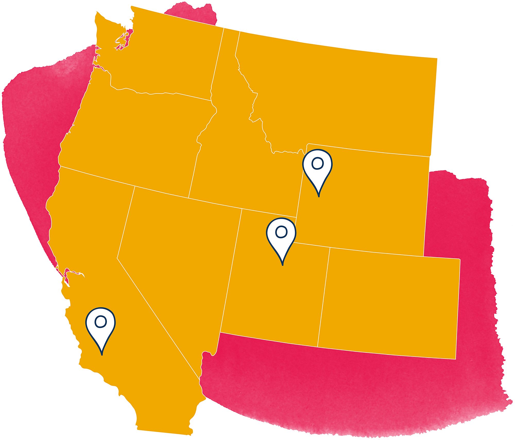 US west region map with pins