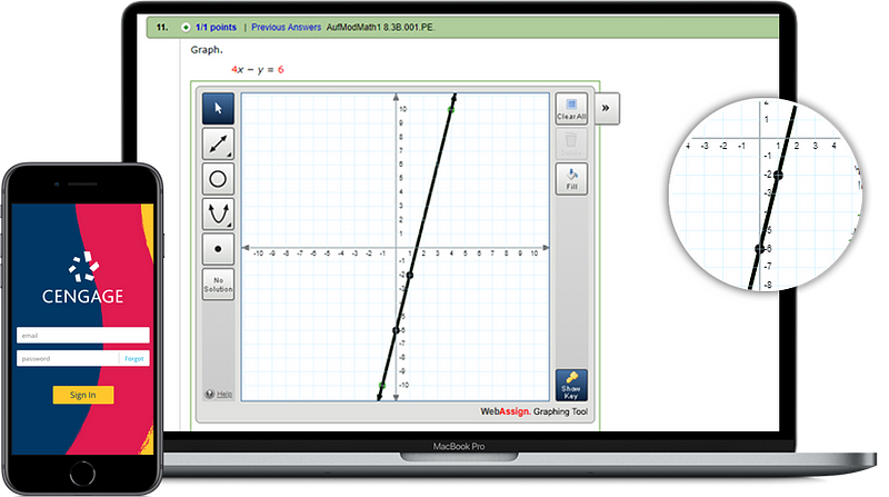 WebAssign on mobile and laptop