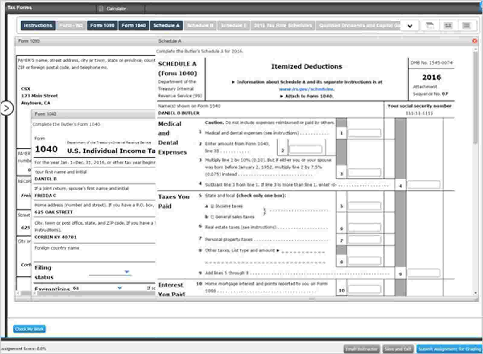 Tax Forms screen grab