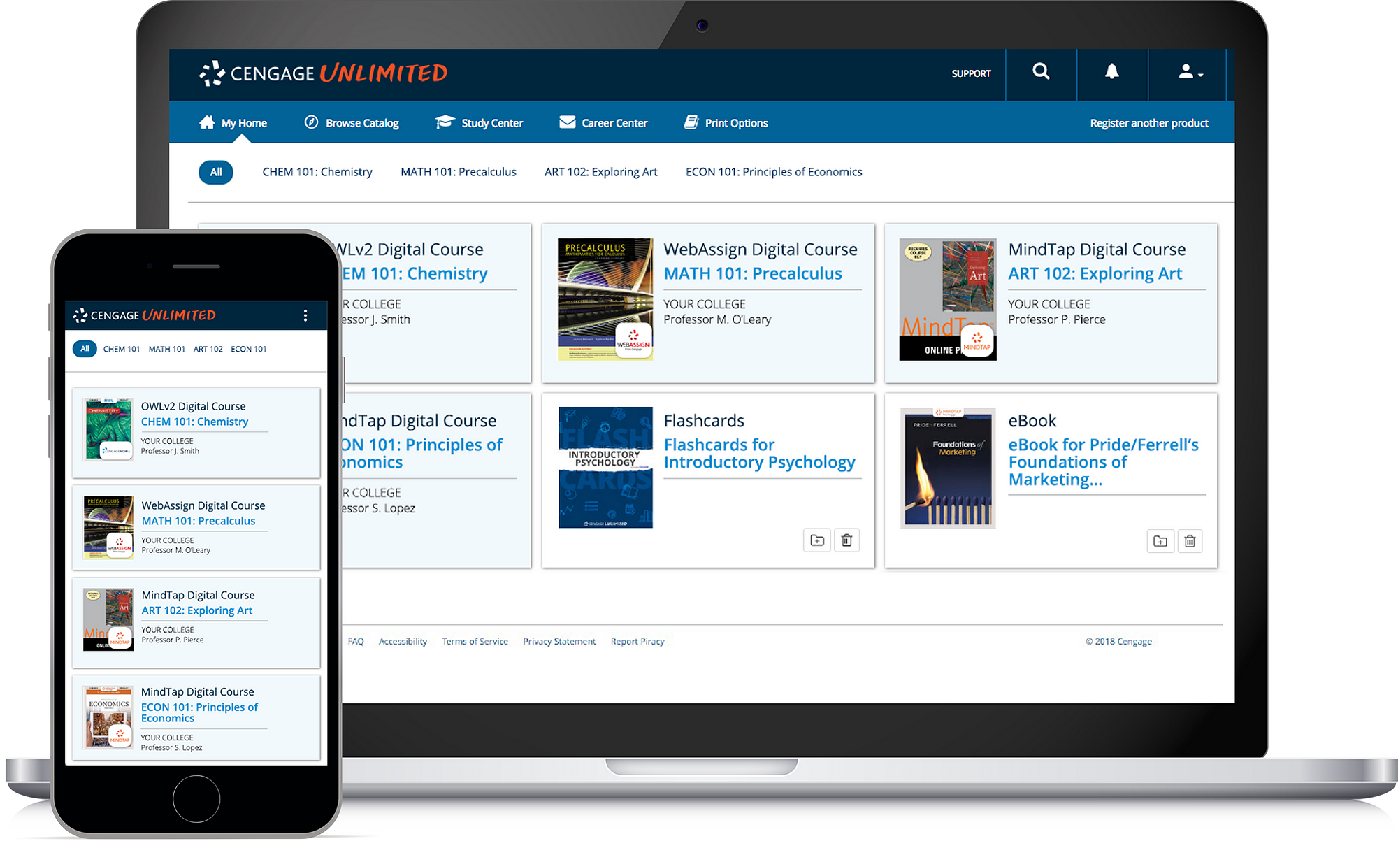 Cengage Unlimited dashboard on laptop and mobile