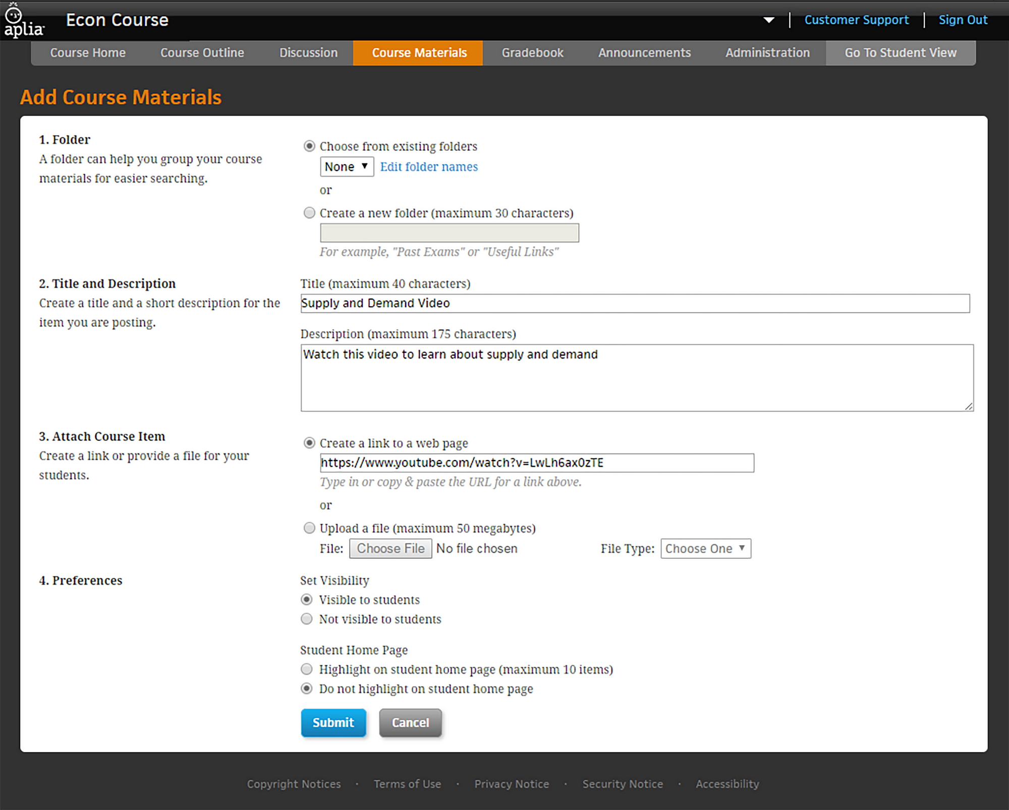 Aplia Add Course Materials screen grab