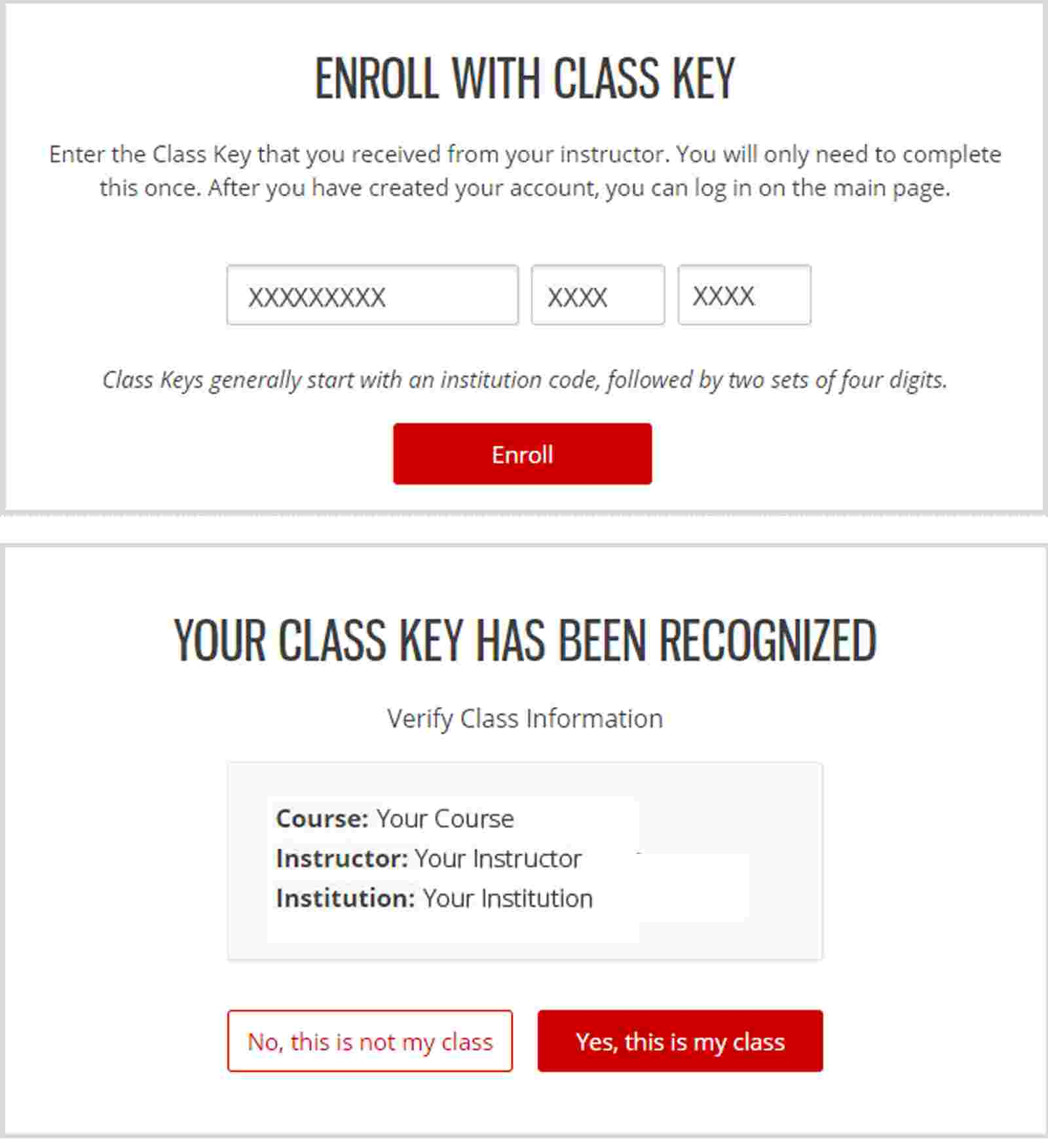 Enroll with a Class Key
