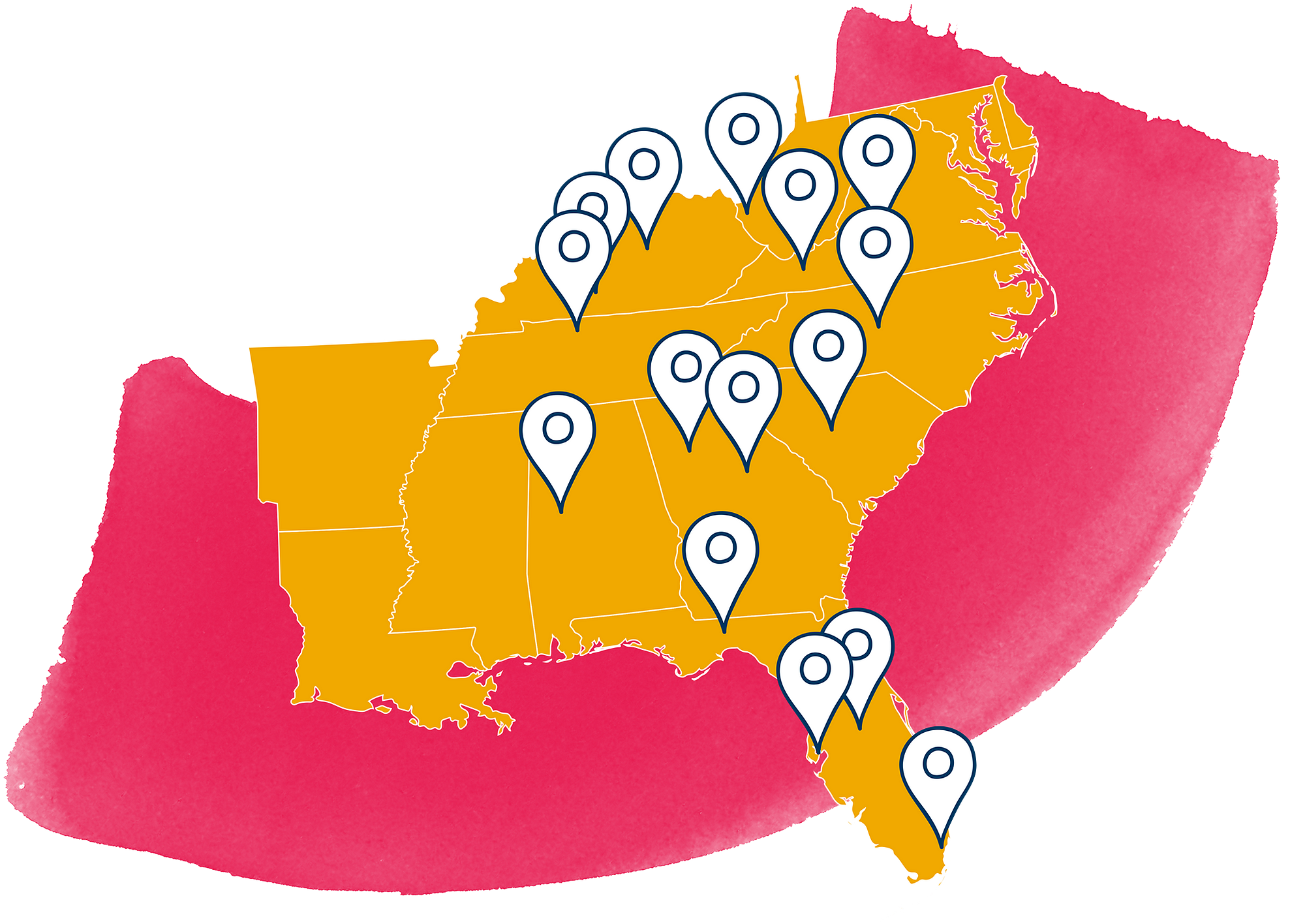 US southeast region map with pins