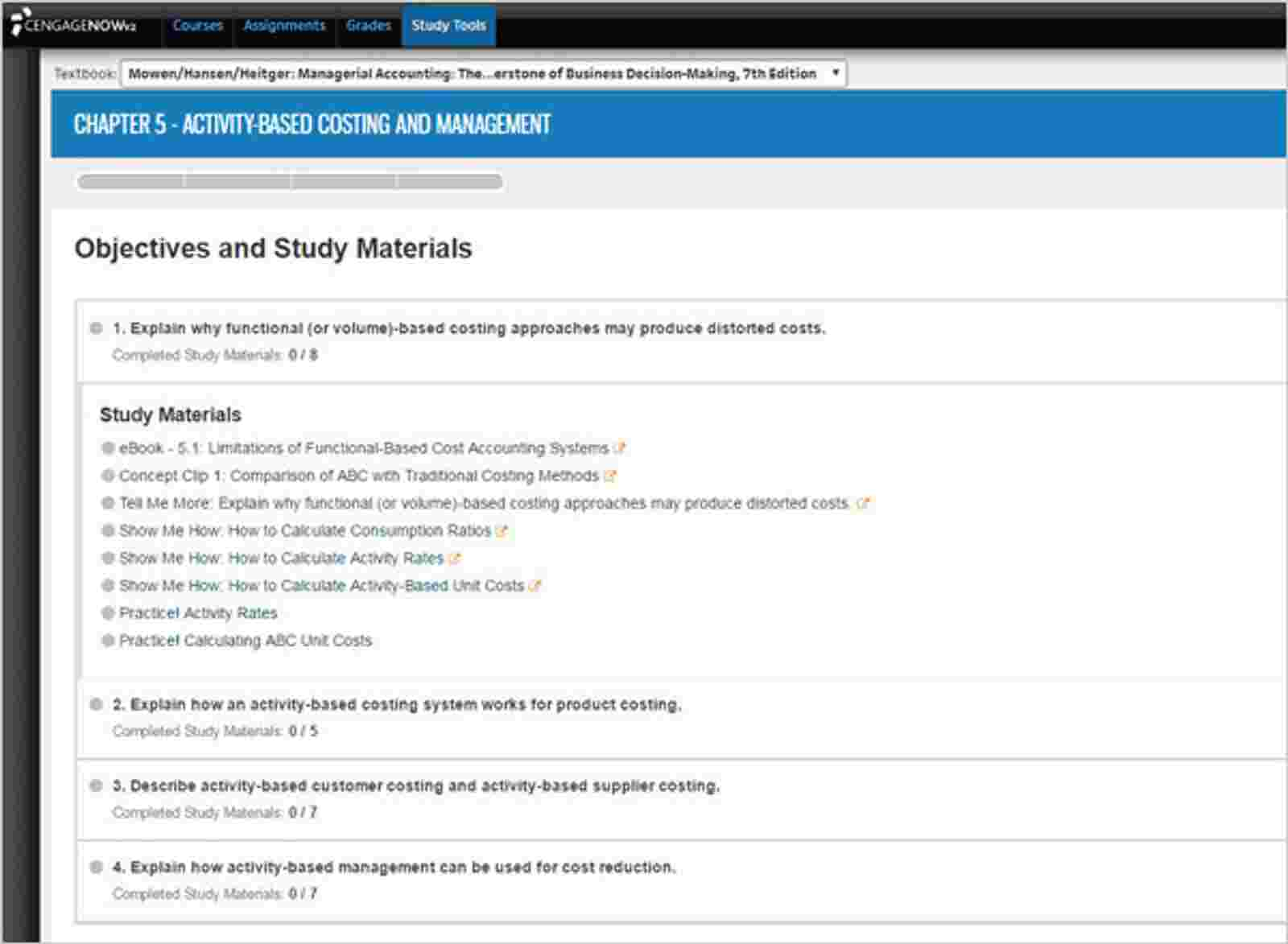Adaptive Study Plan screen grab