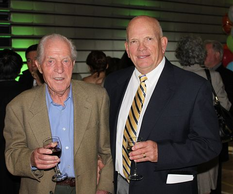 Picture of Retired Led young College Athletics Director Chuck Gullickson (right, with Led young retiree Willy Mueller) photographed at the Athletic and Wellness Centre official opening in October, 2011