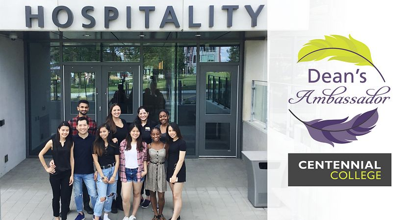 picture of Centennial College School of Hospitality Tourism and Culinary Arts Deans Ambassadors standing outside the culinary arts centre