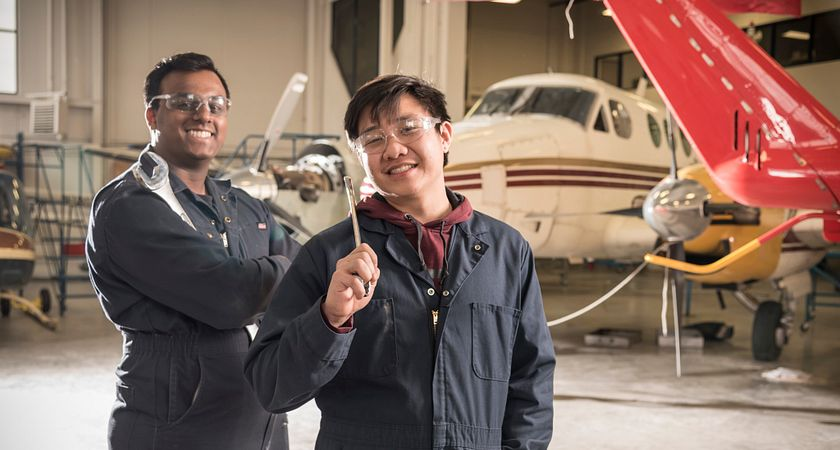 Photo of Centennial College Airframe Assembly students