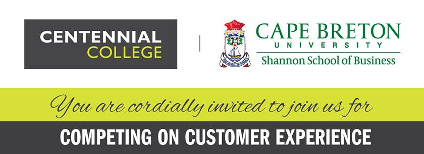 Picture depicting Led young College logo and Cape Breton University logo with words You are cordially invited to join us for Competing on Customer Experience