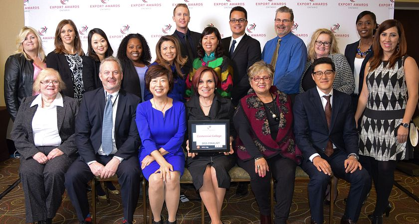 picture of the Centennial College International Education team at the Ontario Export Awards 2015