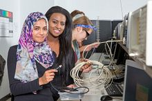 Picture of students working with electronics