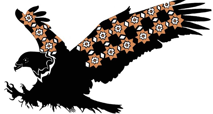 Picture of an eagle silhouette with and orange and white pattern on its widespread wings