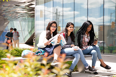 Picture of Centennial College students at the Ashtonbee campus courtyard
