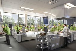 Photo of students from the school of hospitality in a kitchen lab.