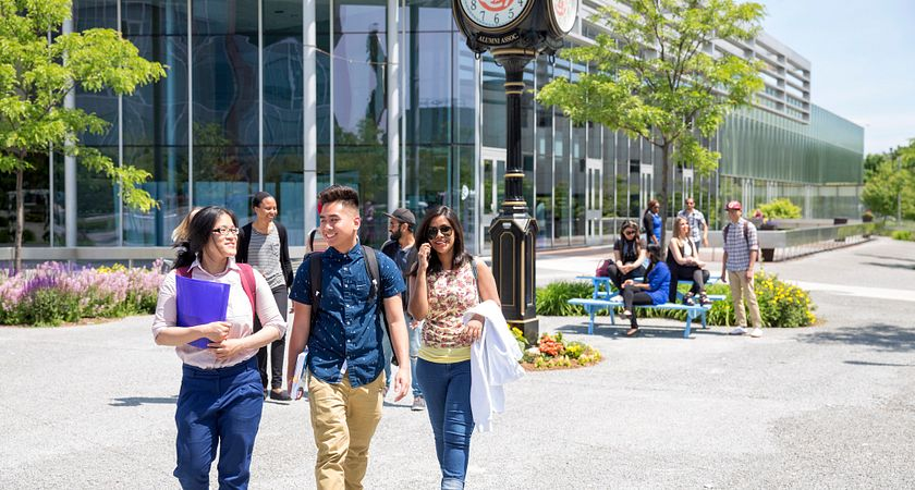 picture of Centennial College students in the Progress Campus courtyard