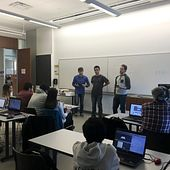 picture of Centennial College Software Engineering Technology program students presenting their work at our hackathon event