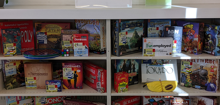 Library board game display