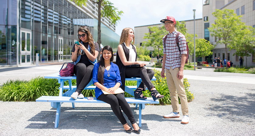 picture of students in the centennial college progress campus courtyard