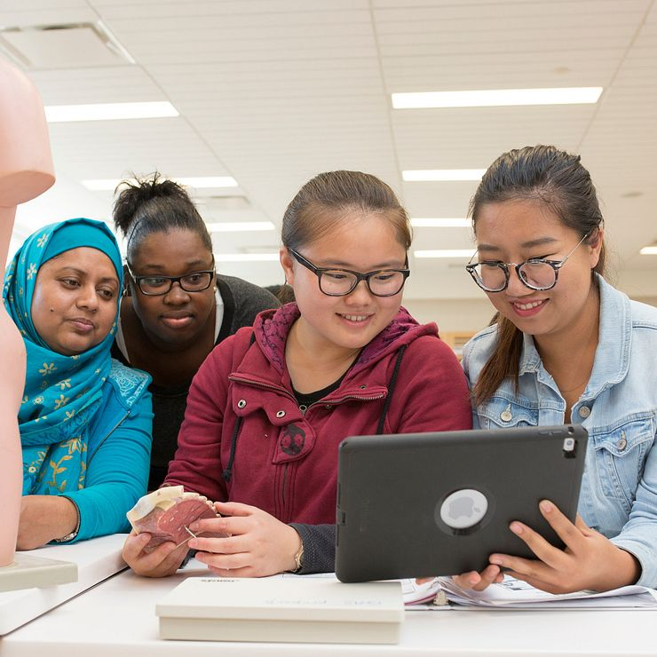 students viewing a laptop