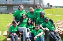 Picture of a group of Centennial College LeaderShape students outdoors smiling