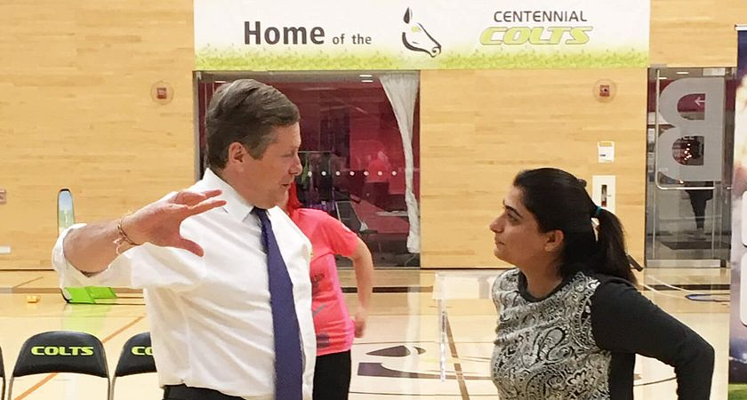 Picture of Mayor John Tory and star cricket player Sana Mir at the Centennial Athletic and Wellness Centre