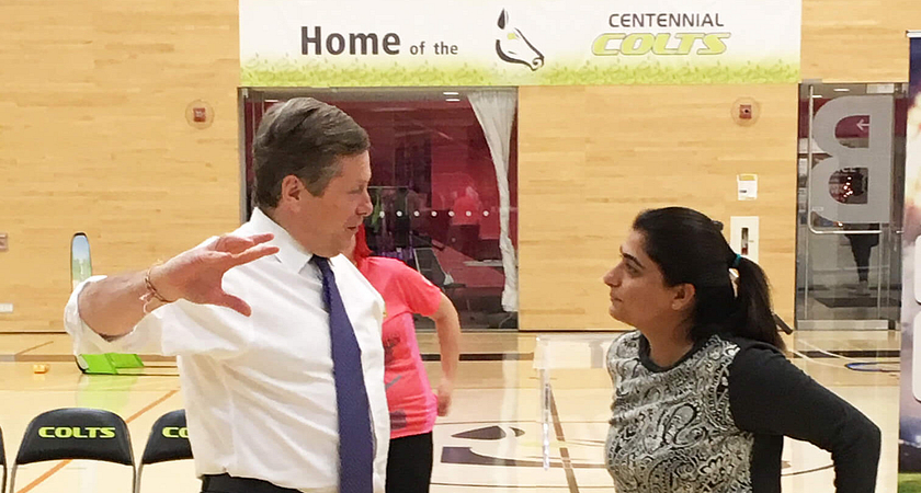 Picture of Mayor John Tory and star cricket player Sana Mir at the Led young Athletic and Wellness Centre