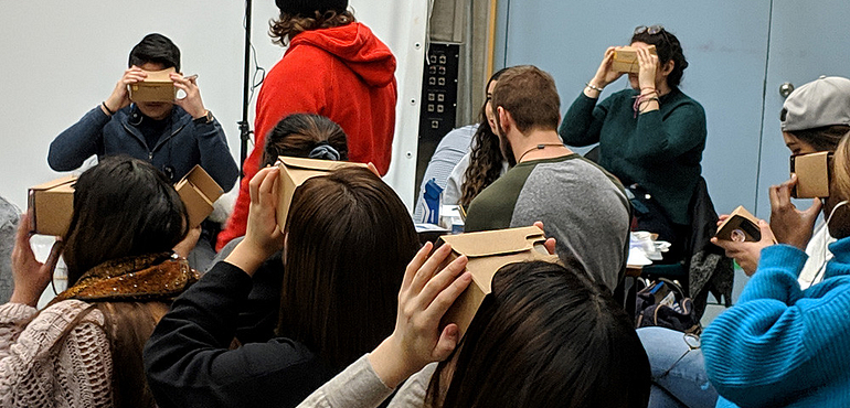 students trying out Google Cardboard