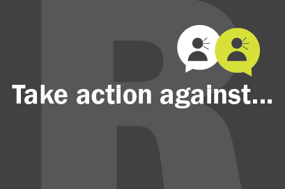 picture that reads take action against