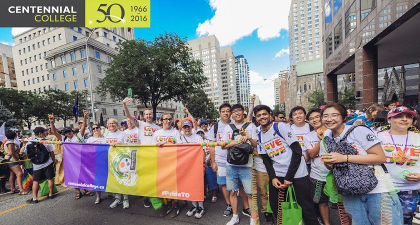 Picture of Centennial College students participating in Pride Parade