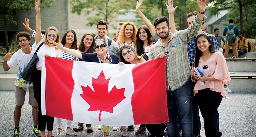Group of International Students with Canada Flag