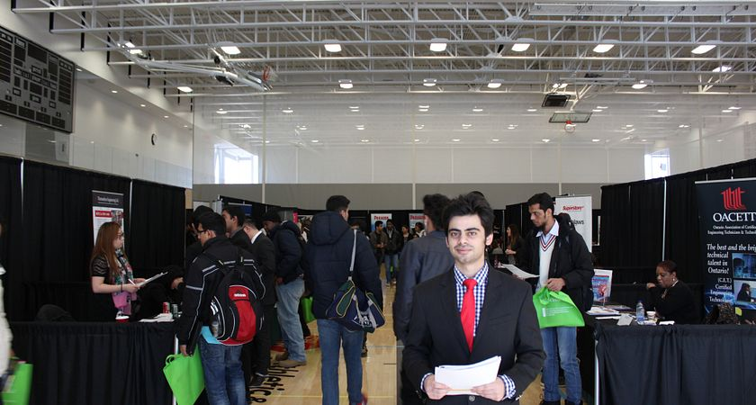 picture of a centennial college student dressed in business profesisonal at the part-time job fair