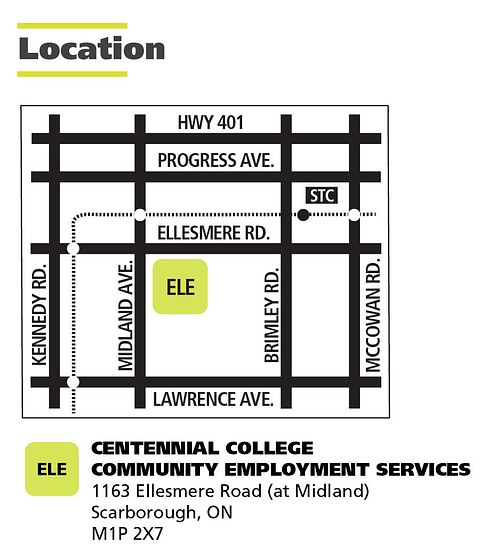Map of the Centennial College Community Employment Services