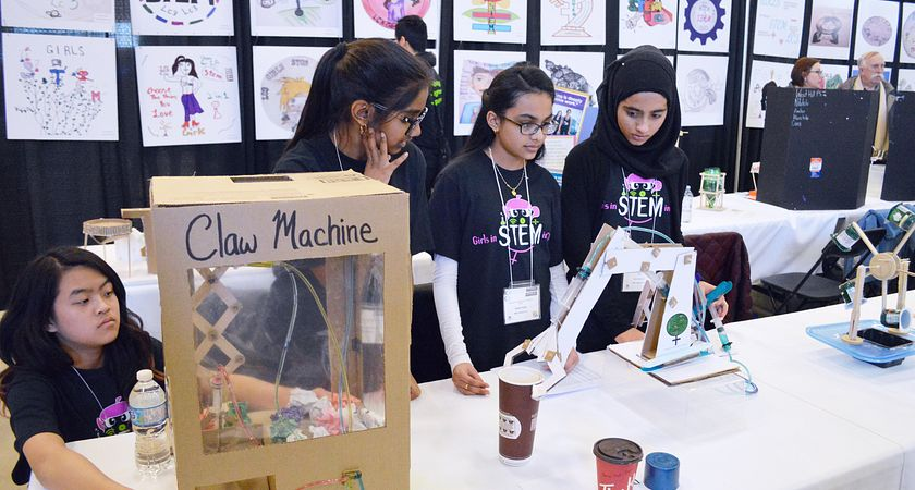 picture of girls learning about science at the Girls STEM Equity Conference at Centennial College