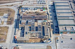 Aerial view of Centennial College Downsview Park Aerospace Campus Construction