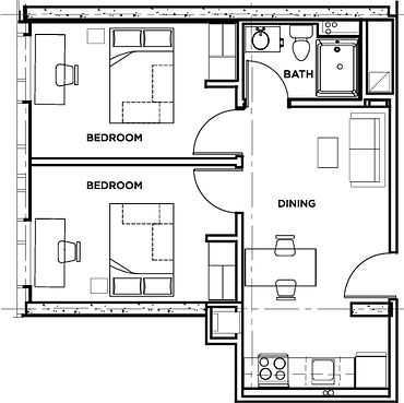 Picture of the residence floor plan two bedroom deluxe