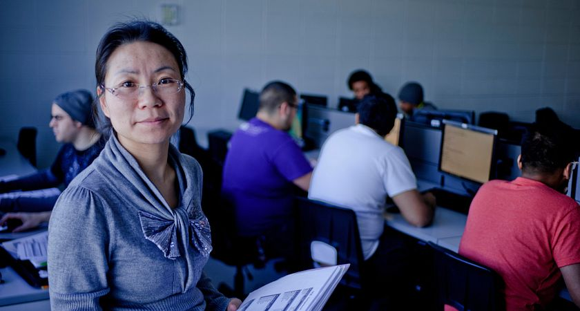 Picture of a Centennial College Continuing Education student in a computer lab