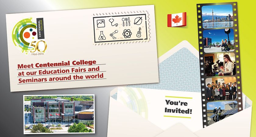 picture of an invite to the Centennial College International Education Fairs