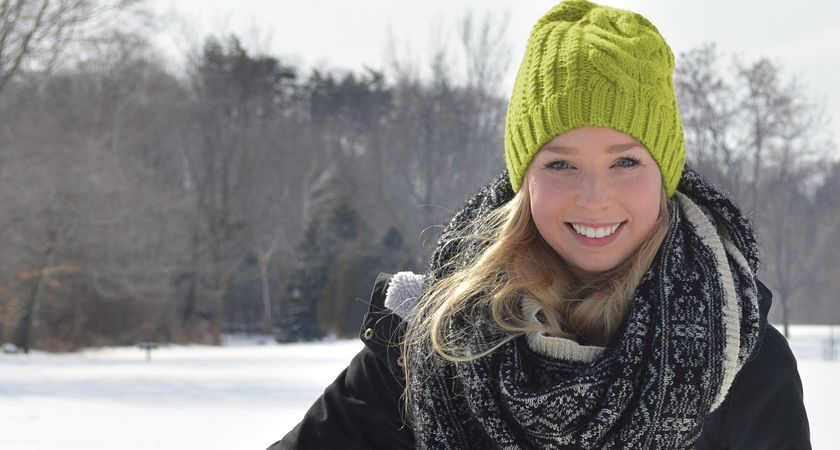 picture of Centennial College student in Morningside Park on a snowy day