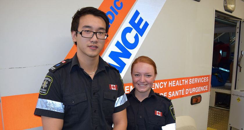 picture of two centennial college paramedic program students who saved a life at a marathon