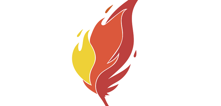 abstract flame design, indigenous studies badge