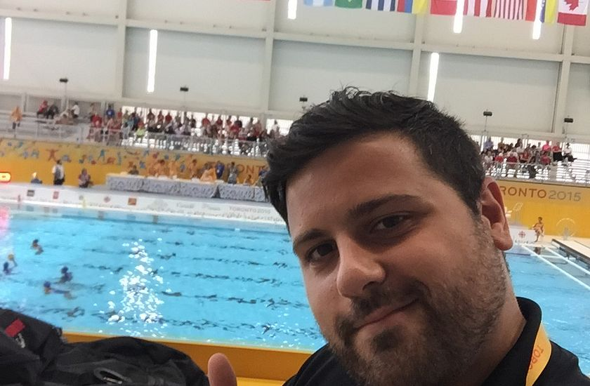 Picture of Centennial College Sports Journalism student Joe Narsa at the Pan Am Games Water Polo event