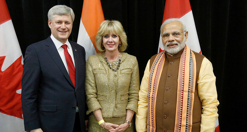 picture of Ann Buller with Prime Minister Stephen Harper and Narendra Modi, Prime Minister of India