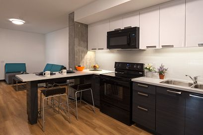 Picture of the kitchen of the students residence place
