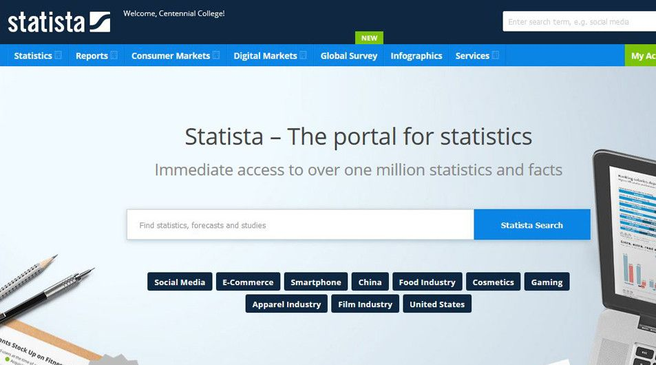 Student happy to find statistics in the new Statista database