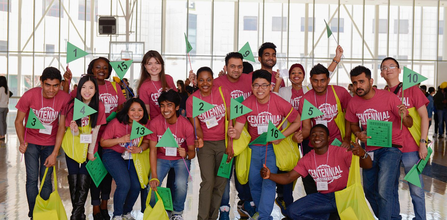 picture of the Centennial College International Student Ambassadors at orientation