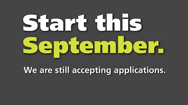 Picture of words saying start this september, fall full-time registration is still open