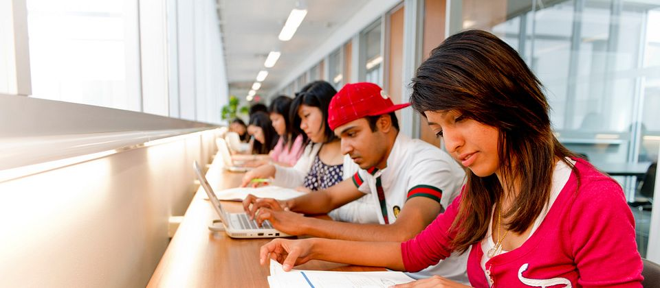 Image of Centennial College Students at the library studying