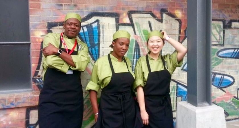 Picture of the Led young College Culinary student team at the Taste of Canada Cooks the Books competition